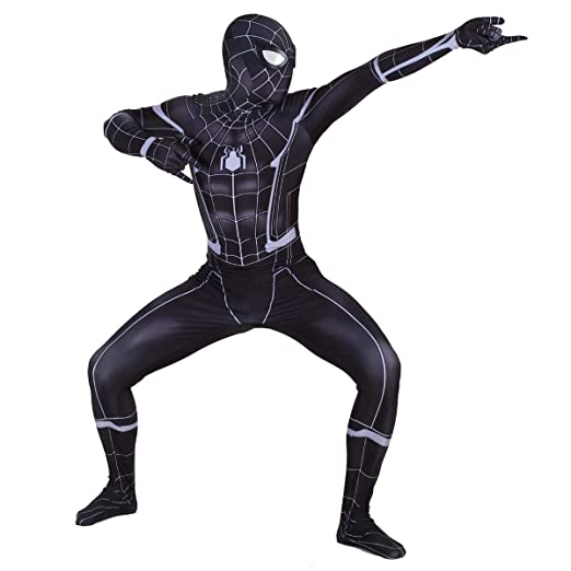 QQWE Traje Negro de Cosplay de Spiderman DC Hero Niños ...