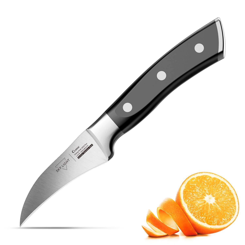 Peeling Knife, Razor Sharp Paring Knives Potato Tourne Cut Fruit Peeler Professional 2.75'' Birds Beak German High Carbon Stainless Steel Small Kitchen Knife with Non Slip Ergonomic Grip by SKY LIGHT
