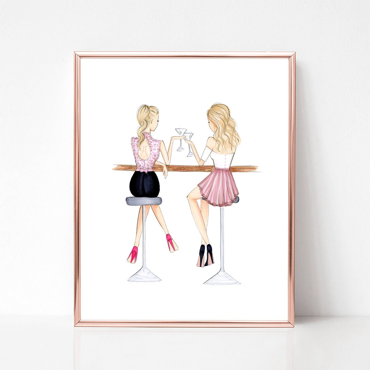 Unframed customizable BFF fashion illustration art print
