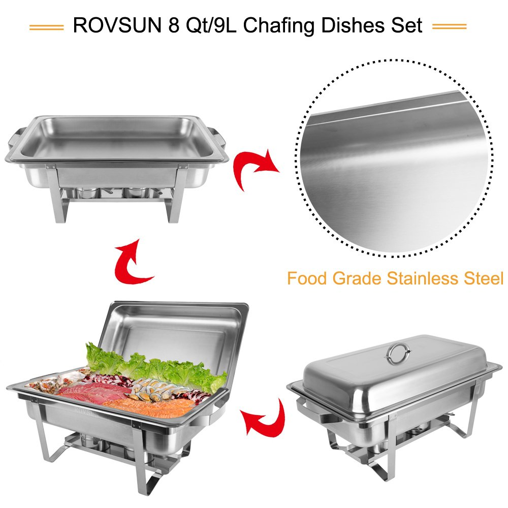 ROSVUN Upgraded Stainless Steel Chafing Dish Buffet Silver Round Catering Warmer Set with Food and Water Trays, Mirror Cover, Thick Stand Frame for Kitchen Party Banquet (2 Round+ 2 Rectangular) by ROVSUN (Image #4)