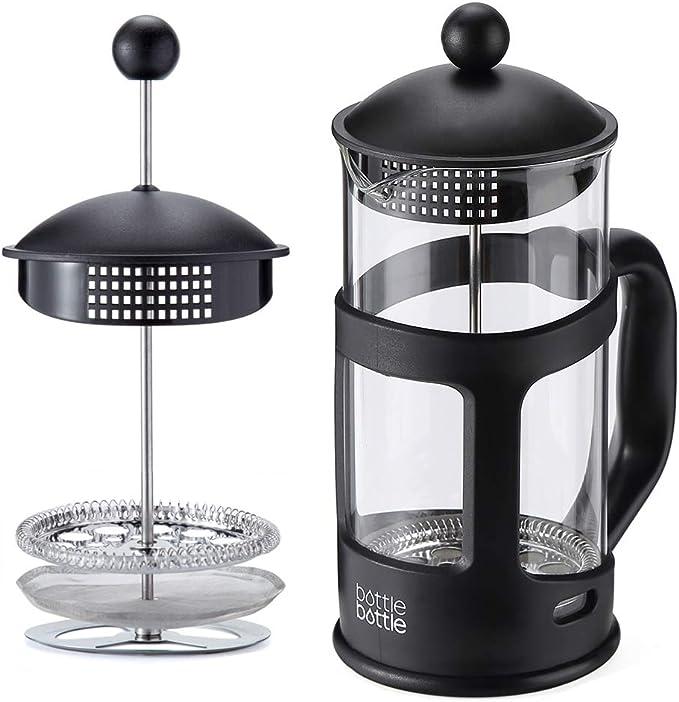 Botella de 8 tazas de vidrio de borosilicato francés prensa cafetera con cuchara, 1 L / 34oz – negro: Amazon.es: Hogar