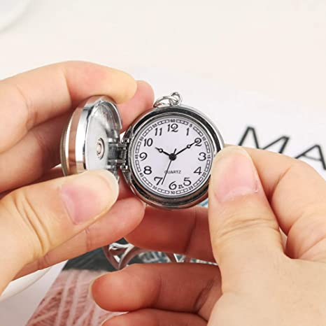 Reloj de Bolsillo de Cuarzo con Caja Plateada, práctico Llavero de ...