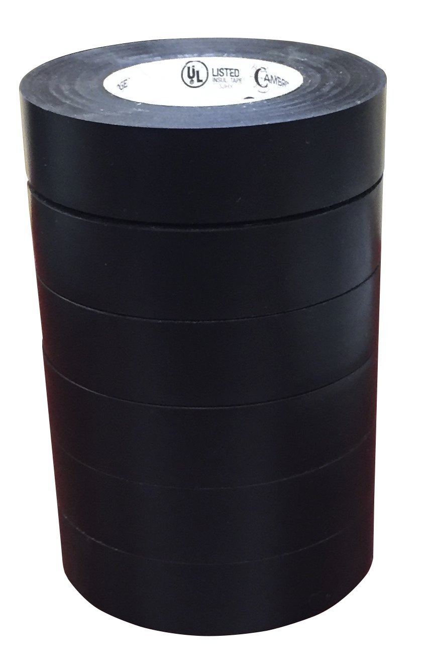 Cambridge Resources Electrical Tape Black 3/4 Inch By 66 Feet Per Roll, 6 Rolls Professional Grade, UL Listed