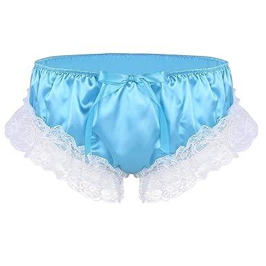 ac37d9f23 iiniim Mens Soft Shiny Satin Frilly Ruffled Floral Lace Sissy Bikini Briefs  Crossdress Bloomers Panties Underwear  Amazon.co.uk  Clothing