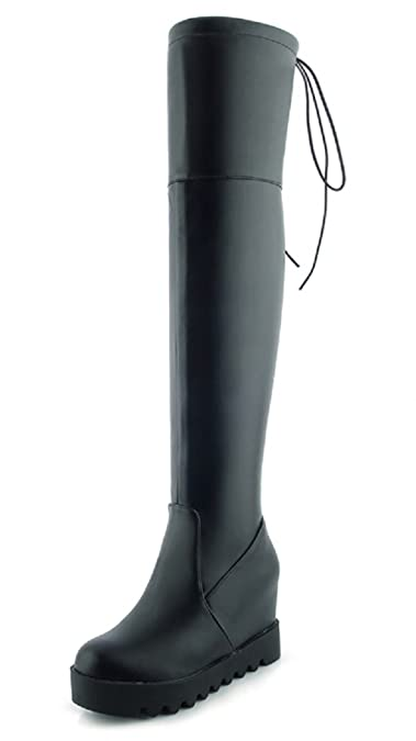 Rongzhi Womens Over The Knee Boots Wedge Heels Platforms Thigh High Boots  Black 231a0226f