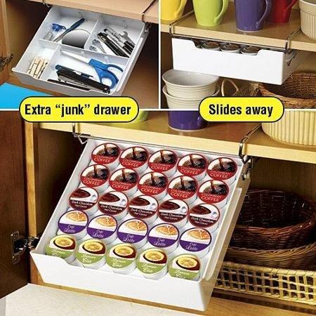 Kamenstein Universal Drawer K-Cup Coffee Under Mount Shelf Rack Kitchen Storage