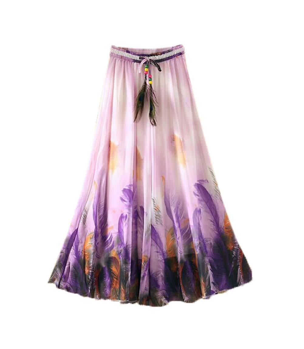 Purple Feathers Pattern Summer Chiffon Skirt Large Swing Skirts Fairy Skirt Panda Superstore