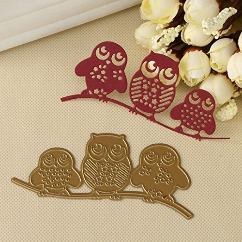 Metal Cutting Dies For Card Making, Mikey Store Flower Leaves Cutting Dies Handmade DIY Stencils Scrapbooking Album Paper Card Craft (3 owls)