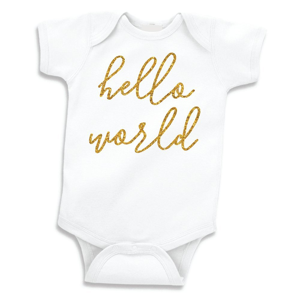 Amazon com bump and beyond designs hello world baby girl clothes newborn coming home outfit photo prop clothing