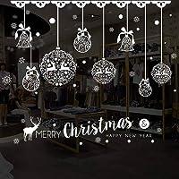 Quanhaigou Christmas Snowman Window Clings Stickers + 27pcs Snowflakes Free Wall Decals -Xmas/Holiday/Winter Wonderland…