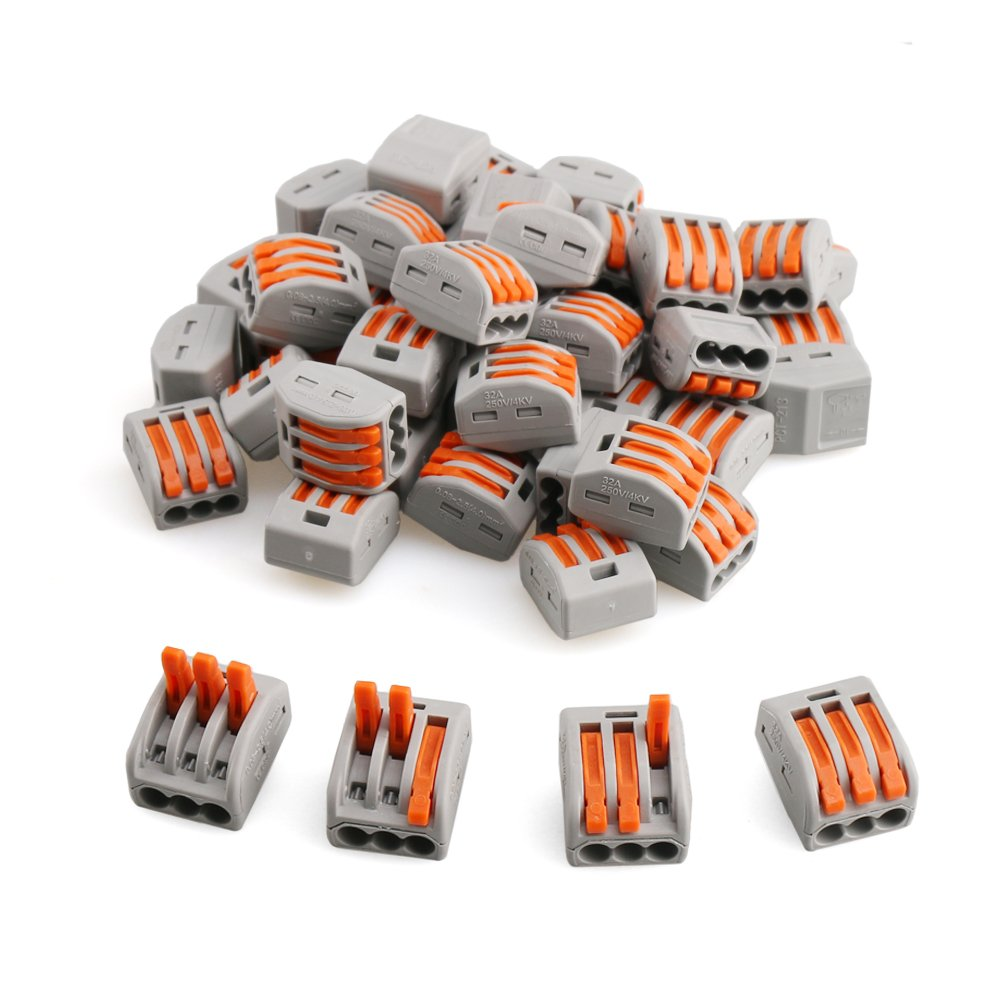 Wire Connector, URBEST 3 Port Lever-Nut Universal Quick Terminal Block PCT-213 Compact Push Butt Joint Cable Connector, 50 Pack