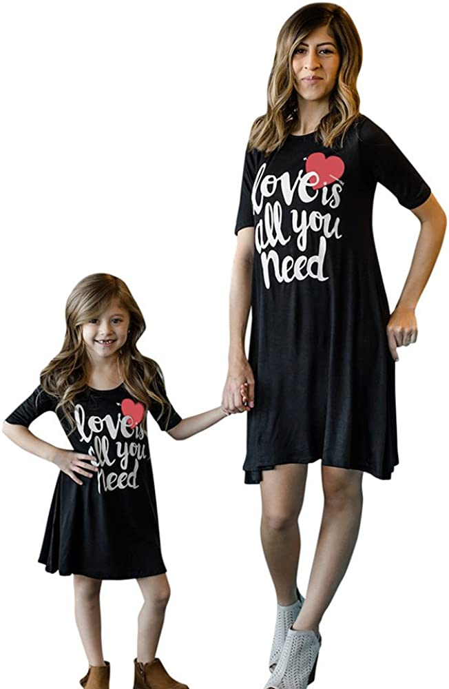 Lurryly Mom&Me Mother/&Girls Letter Print Dress Family Matching Outfits Clothes