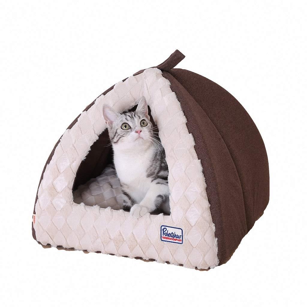 S Pet Bed Closed PV Velvet Material Deep Sleeping Sleeping Bag Pet Supplies Warm Brown (Size   S)