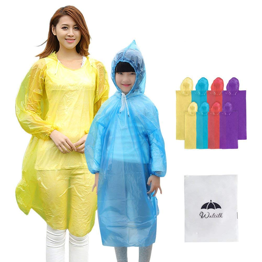 8 Pack Disposable Rain Ponchos with Hood & Sleeve, 4 Pack Adult Ponchos + 4 Pack Kids Ponchos for Family Travel, Camping, Hiking, Fishing and Emergency, Thicker Material with 4 Colors Walsilk