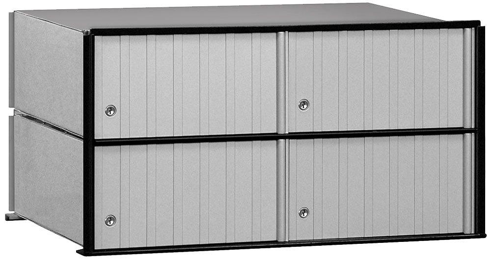Salsbury Industries 2204 Aluminum Mailbox, 4 Doors, Rack Ladder System, Aluminum with Black Trim