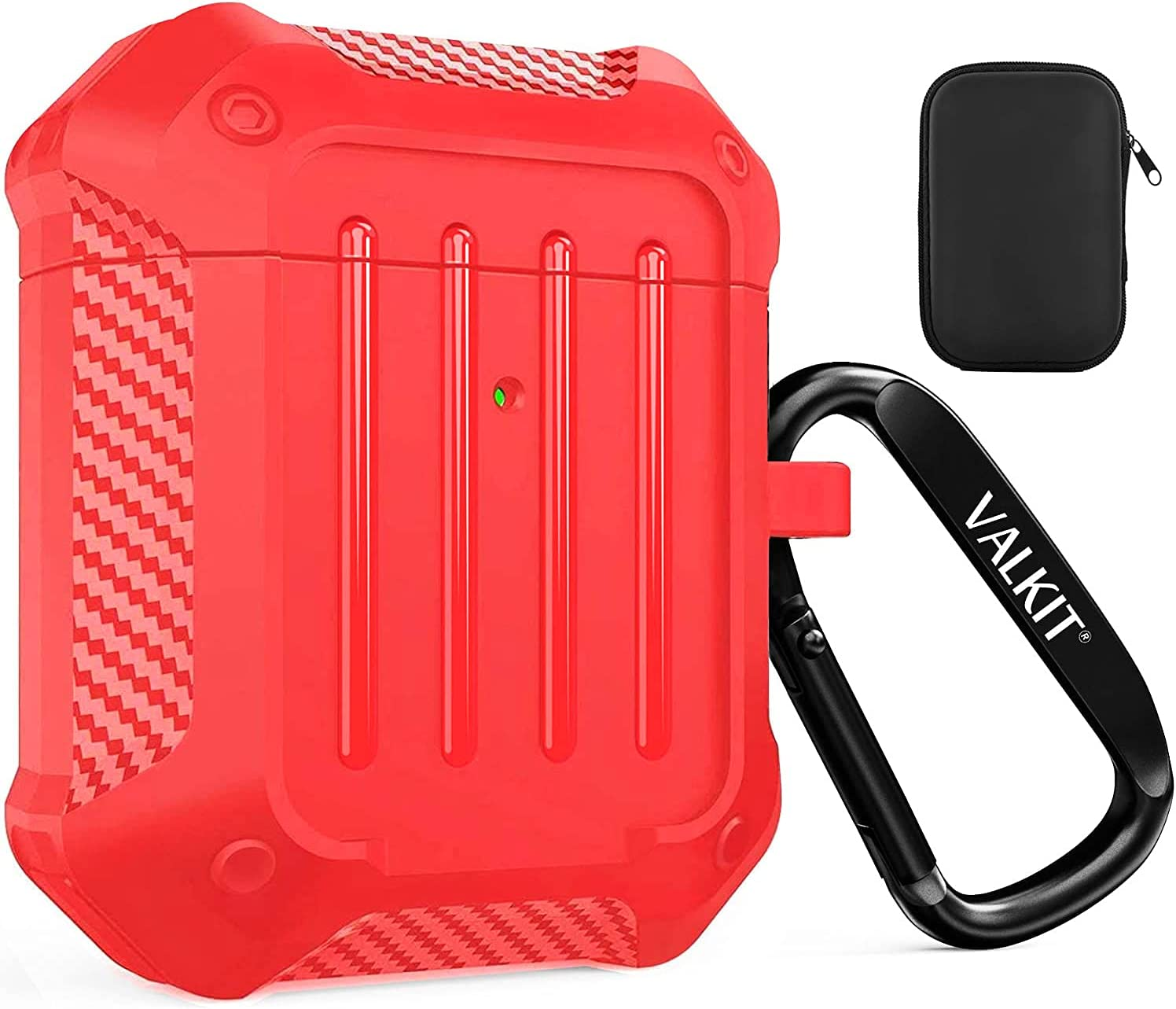 Valkit Compatible AirPods Case Cover for Men Women, Full-Body Rugged Protective Airpods Cover with Keychain Air Pod 2 Case for Airpods Wireless Charging Case 2 & 1 - Red