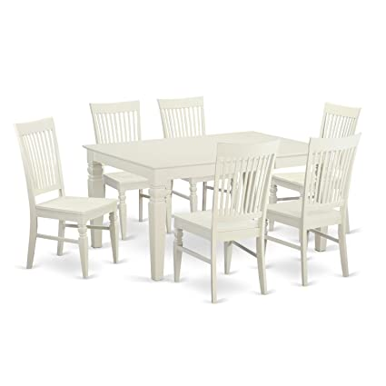 East West Furniture WEST7-WHI-W 7-Piece Dining Table Set  sc 1 st  Amazon.com & Amazon.com: East West Furniture WEST7-WHI-W 7-Piece Dining Table Set ...