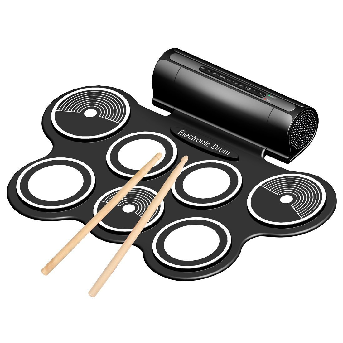 Portable 9 Pad Electronic Drum Kit with Sticks and Foot Pedals - Konix Complete Silicone Roll-Up Style Electric Drum Set by Emperor of Gadgets