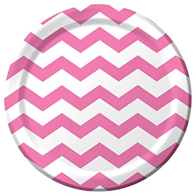 Candy Pink Chevron Stripe 9 inch Lunch/Dinner Plates (8 ct): Toys & Games
