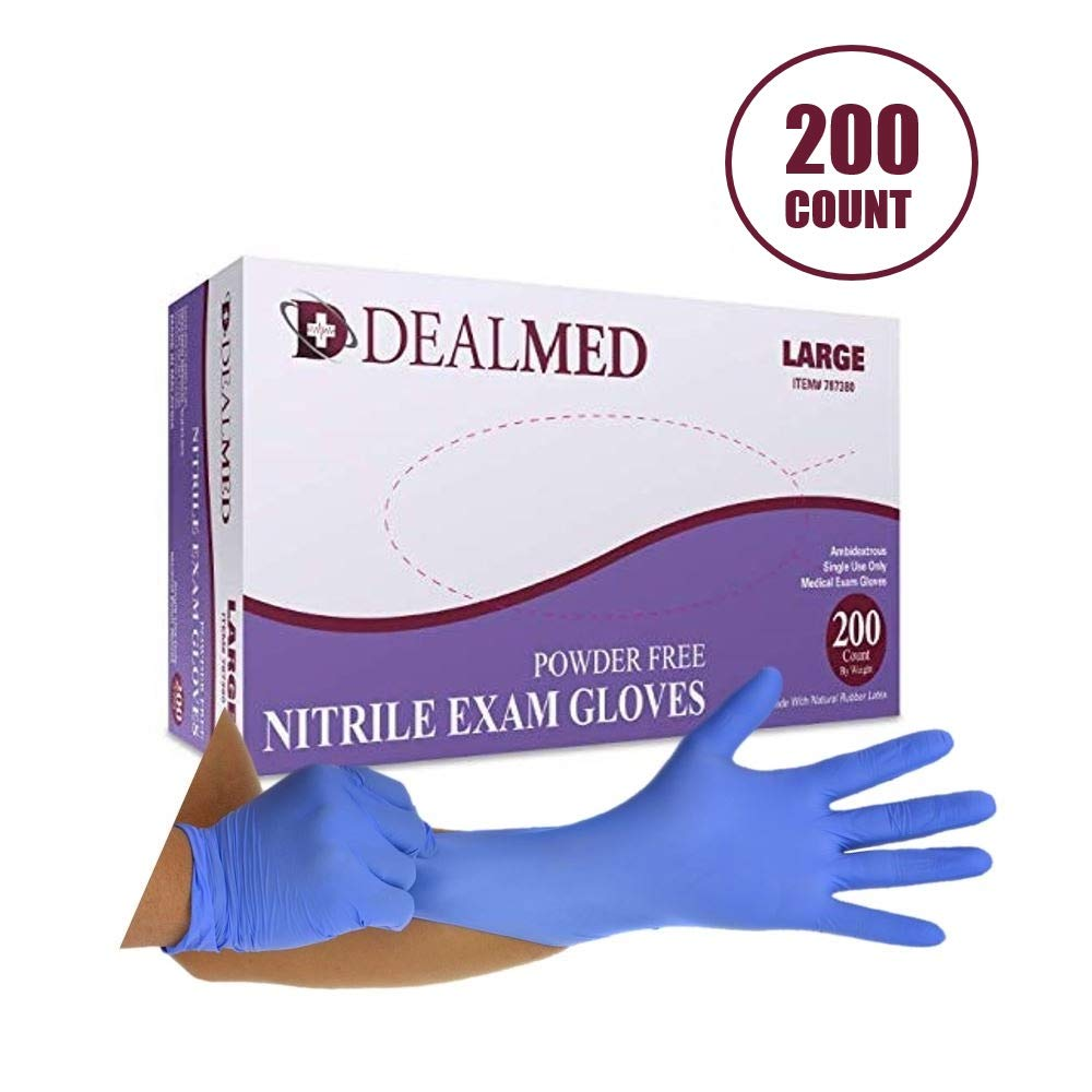 Dealmed Brand Nitrile Medical Grade Exam Gloves, Disposable, Latex-Free, 200 Count, Size Large by Dealmed