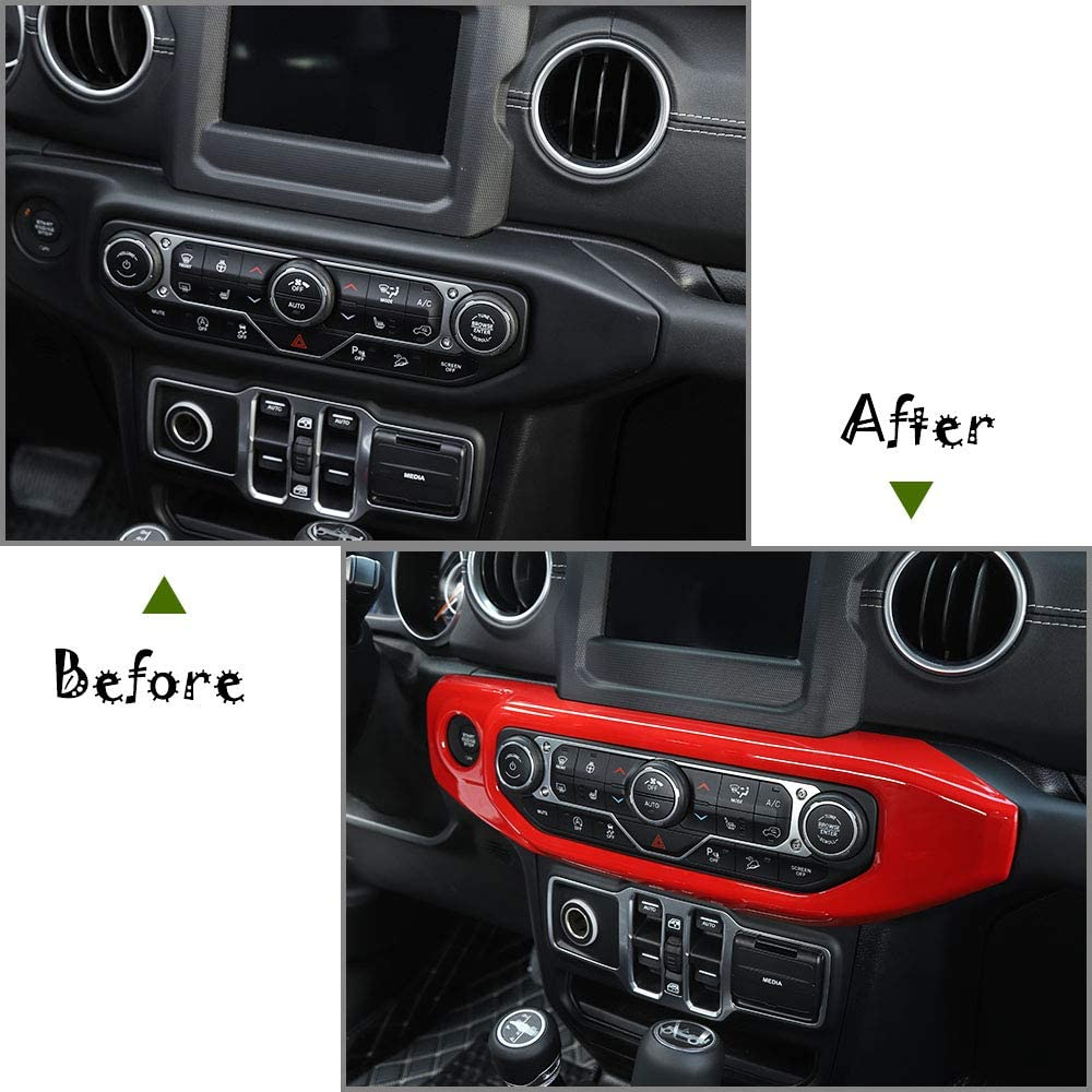 RT-TCZ Car Red Air Conditioner Control Panel Trim Decoration Stickers Trim ABS Cover for Jeep 2018-2020 JL Carbon Fiber for Jeep Wrangler Accessories Red Color