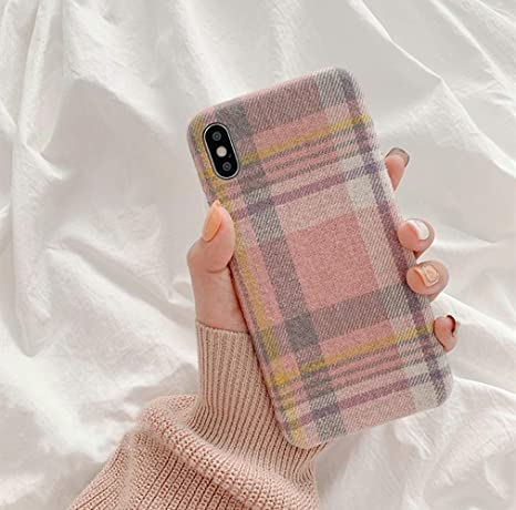 Christmas Warm Red Plaid Plush Simple Fabric Cloth Phone Case Compatible for iPhone 7 8 6s Plus 11 Pro Max Xr X Xs Max Back Cover,Compatible for iPhone X,1
