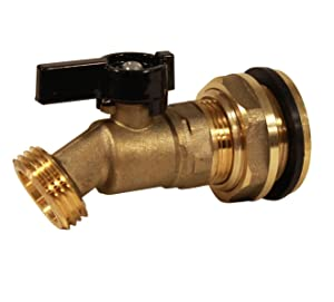 RAINPAL RBS022LF Brass Rain Barrel Spigot(Solid Brass Quarter Turn Valve w/Bulkhead Fitting)