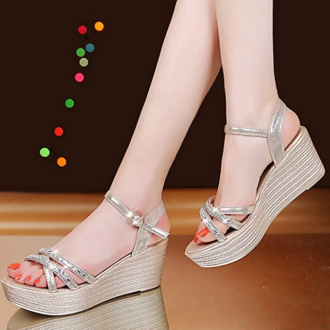 3ec52f61df001 Amazon.com : Iuhan Women's Women Wedge Sandals Summer Ladies Crystal ...