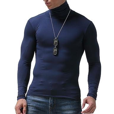 Manga Larga Camiseta Térmica para Hombre Invierno Cuello Alto Cómodo Tops Ropa Interior Térmica para Trabajo Deporte: Amazon.es: Ropa y accesorios