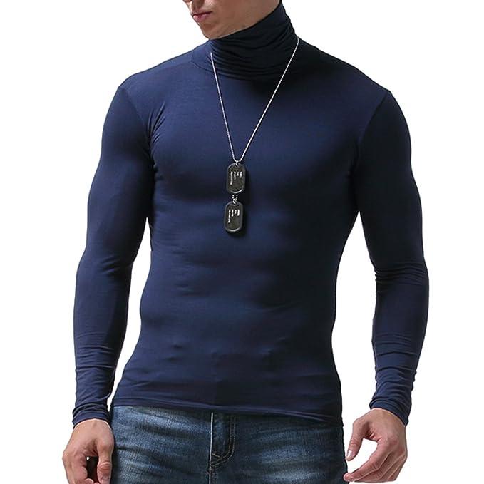 Manga Larga Camiseta Térmica para Hombre Invierno Cuello Alto Cómodo Tops Ropa Interior Térmica para Trabajo