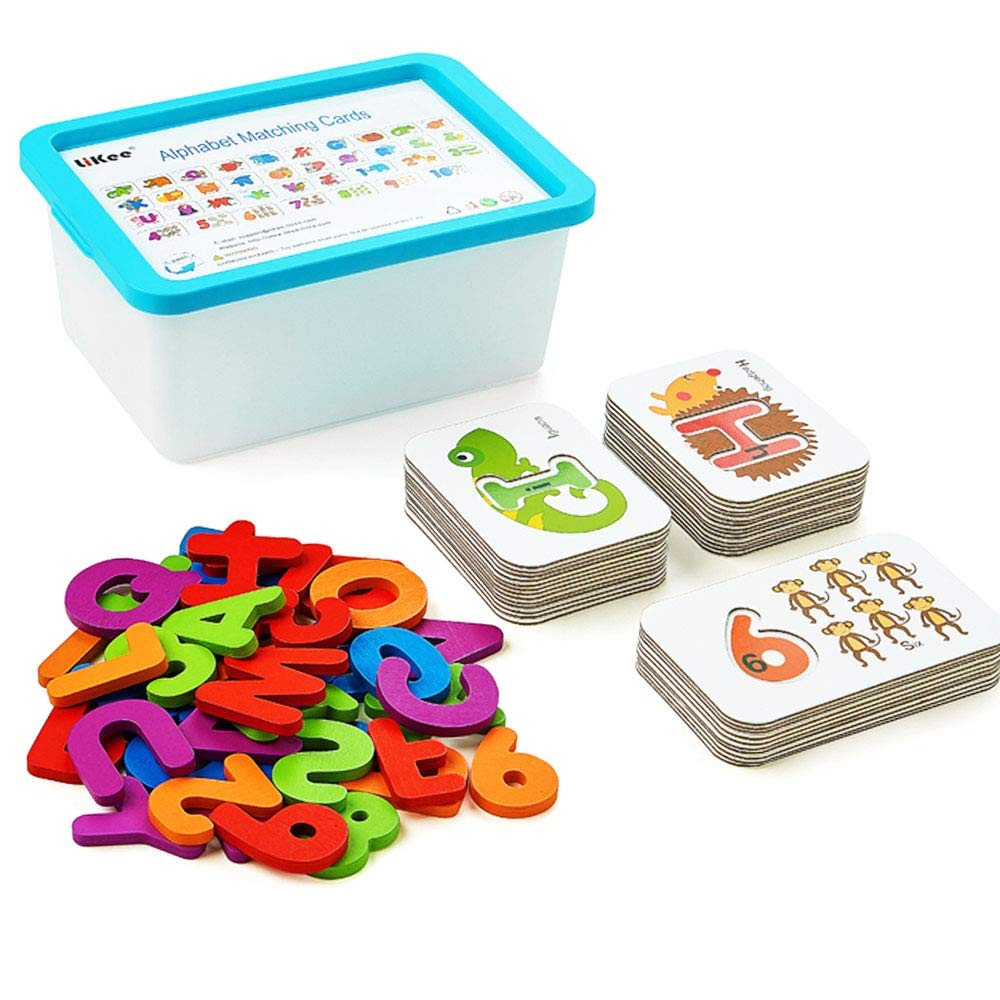 LIKEE Alphabet Number Flash Cards Wooden Letter Puzzle ABC Sight Words Matching Games Animal Counting Board Preschool Educational Montessori Toys for Toddlers Boys Girls 3+ Years (36 Cards& 37 Blocks)