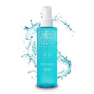 A.STOP Korean Acne Treatment Spray Toner for Face & Body | Natural BHA Salicylate | Upside-down Pump for Back Acne, Chest, Butt, Shoulder | Organic Clarifying Korean Skin Care for women and men