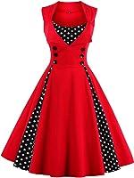 Jiuzhoudeal Women's 1950s Vintage Sleeveless Retro Swing Party Classy Dress
