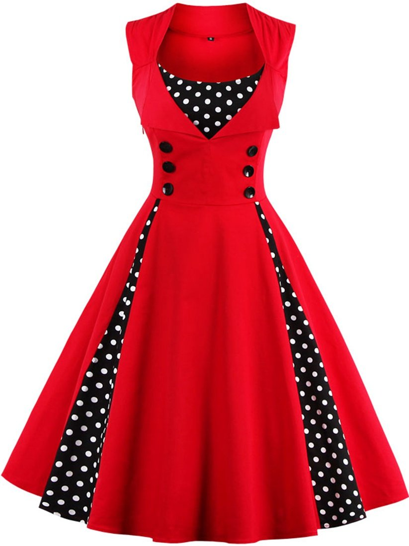 Jiuzhoudeal Women's 1950s Vintage Sleeveless Retro Swing Party Classy Dress (Large, Red)