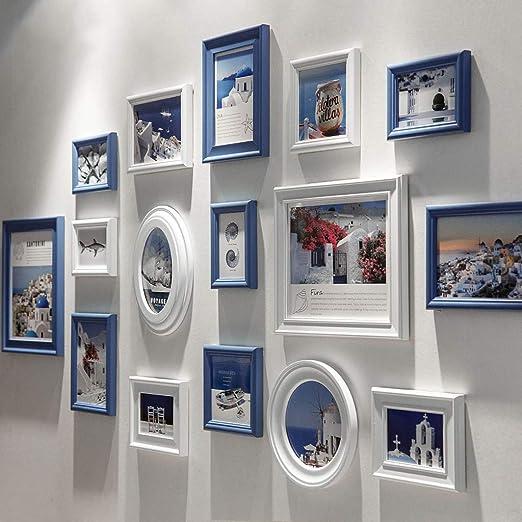 Conjuntos de Pared de Collage de Fotos de Cuadros múltiples de Madera para 16 Fotos en Familia Sala de Estar Escalera DIY Pintura Decorativa combinada (Azul Blanco): Amazon.es: Hogar