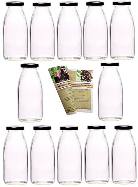 guoveo - 12 botellas de zumo de 250 ml con tapón de rosca negro, botellas