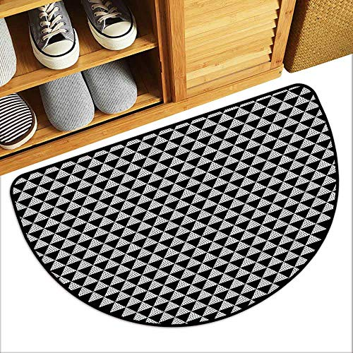 DILITECK Door mat Nordic Modern and Monochrome Geometric Minimalist Composition with Triangles and Dots Breathability W36 xL24 Black and White