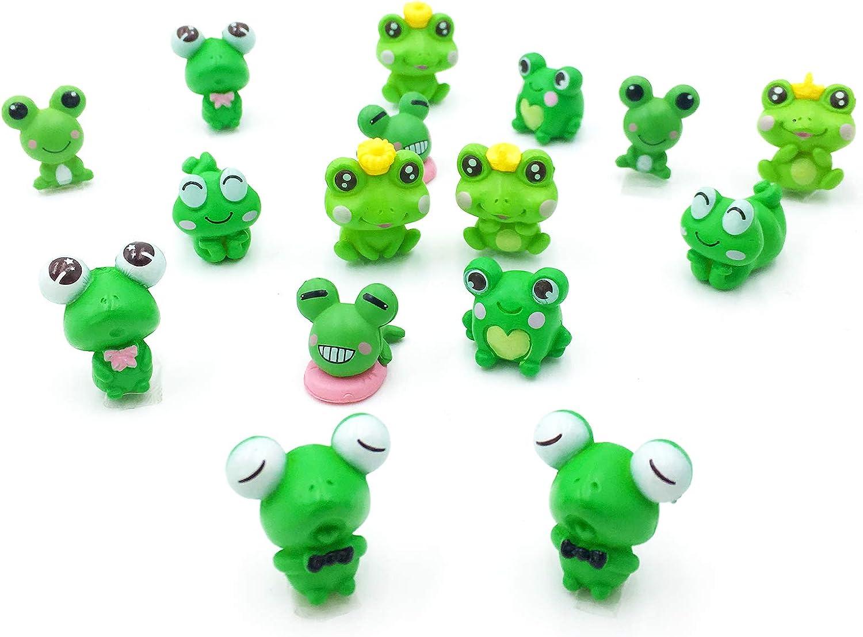 16Pcs Mini Green Frogs Statue Cute Resin Animal Sculpture Moss Landscape Decor for Garden Yard Landscape DIY Terrarium Crafts Fairy Ornaments Toad Miniature Figurines Model Home Decoration (Frogs)
