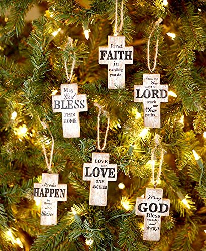 The Lakeside Collection Set of 6 Sentiment Cross (Cross Christmas Ornaments)
