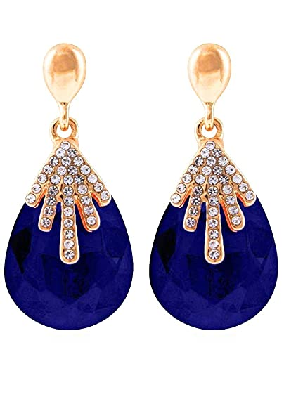 7af1a23fa SAR kreations Stylish Crystal Fancy Party Wear Earrings for Girls and Women  (Blue)
