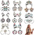 MineSign Face Jewels Festival Tattoo Set Face Gems Glitter Bindi Costume Makeup Rhinestone Eyes Body Rave Pasties for Party Roller