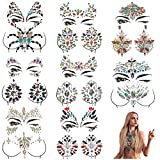 MineSign 8 Pack Face Jewels Festival Tattoo Set Face Gems Glitter Bindi Costume Makeup Rhinestone Eyes Body Rave Pasties for Party Roller (Mermaid Face Chest Kit)