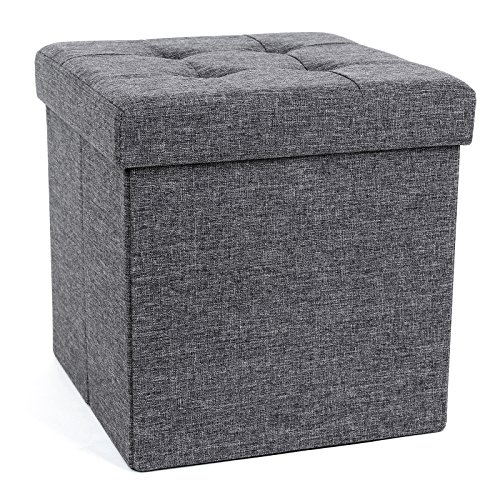 SONGMICS 15 x 15 x 15 Inches Folding Storage Ottoman Cube Footrest Stool Coffee Table Puppy Step, Holds Up to 660lb, Fabric, Dark Grey ()