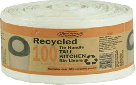 100 Recycled Tie Handle Tall Kitchen Bin Liners (Fits up to 50L ...