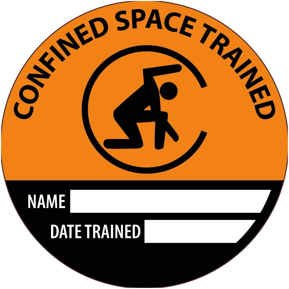 NMC HH141R Confined Space Trained Name Date Trained Hard Hat Label