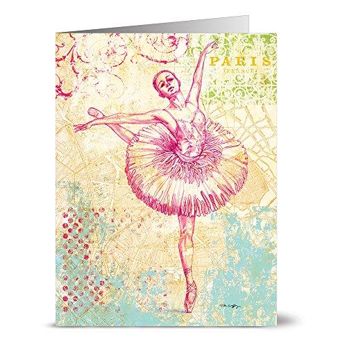 24 Note Cards - World's Fair Ballerina - Blank Cards - Aqua Blue Ocean Envelopes -