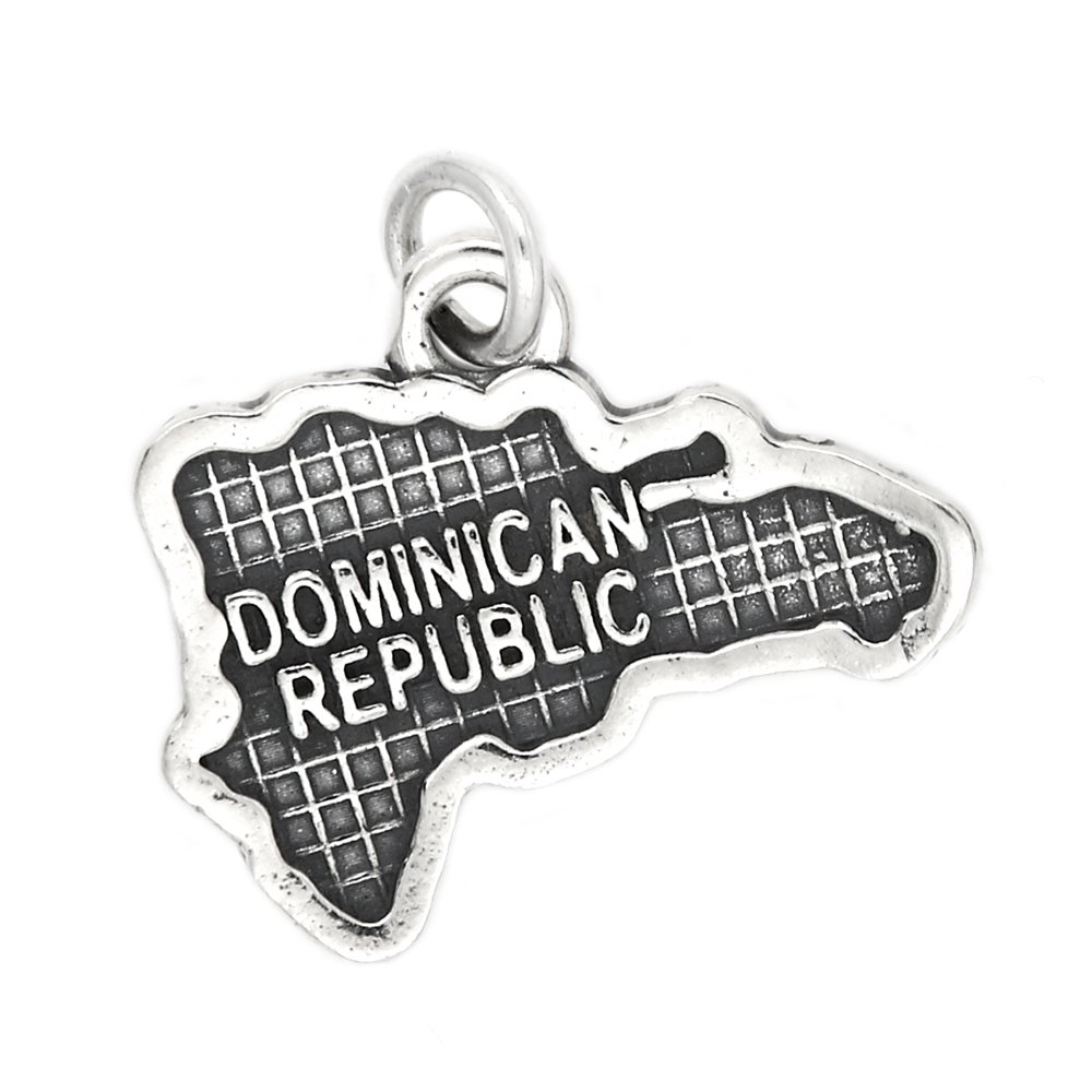 Sterling Silver Oxidized Map of Dominican Republic Travel Charm
