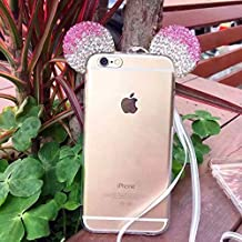 "Apple iPhone 6 (4.7"") & iPhone 6S (4.7"") , TISHAA NEW HOT! Fashion 2016 Bling Minnie Princess Mouse Luxury Bling Style Quality Soft Fluffy FUR Ball Style Clear Fit Case (Bling Minnie - Pink Tip)"