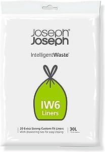 Joseph Joseph Intelligent Waste IW6 General Waste Liner Trash Bags for Totem Max 30 Liter / 8 Gallon, 20-pack, Gray