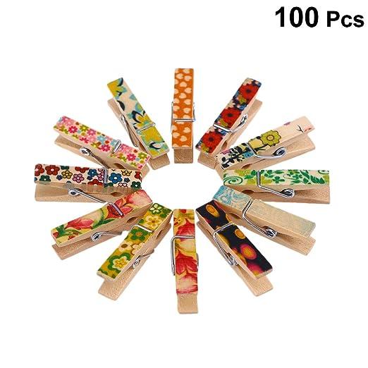 Ounona - 100 pinzas de la ropa de madera decoradas con ...
